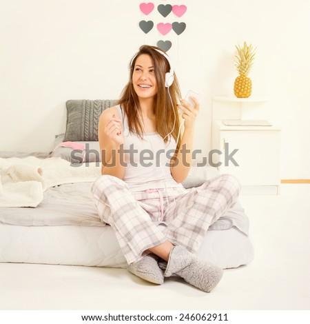 Beautiful Young Brunette Woman Messy Bun Stock Photo 251608639 ...