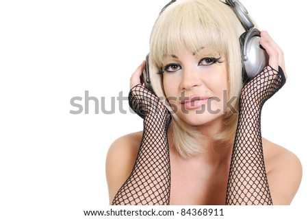 Young woman with headphones on white background - stock photo
