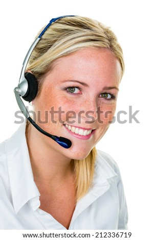 young woman with headset phone in the office in order acceptance. hotline and customer service. - stock photo