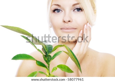 young woman with healthy skin - stock photo