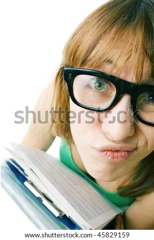 Young woman with heap of papers in broken retro glasses over white