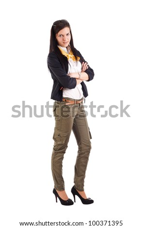 Young  woman with her arms crossed, isolated on white - stock photo