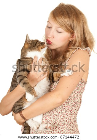 young woman with her lovely grey cat, white background - stock photo