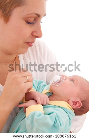 Young woman with her newborn baby (1 month), on white background