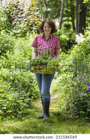 young woman with herbs in a garden - stock photo