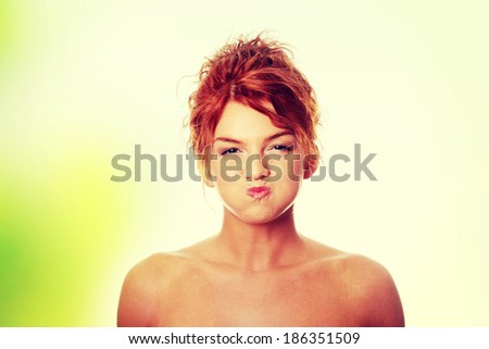 Young woman with hiccup - stock photo