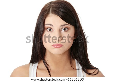 Young woman with hiccup, isolated on white - stock photo