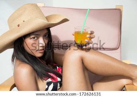 young woman with juice - stock photo