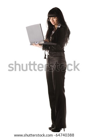 young woman with laptop isolated on white