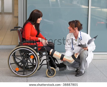 Young woman with leg in plaster