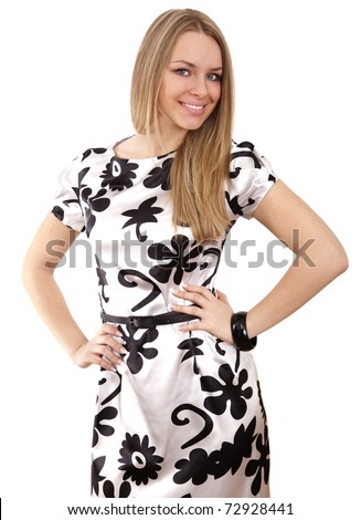 young woman  with long blond hair - stock photo