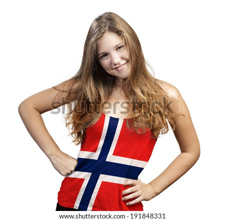 Young Woman with long curly hair and a t-shirt of Norway on a white background