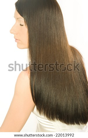 young woman with long dark silky hair