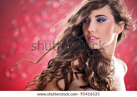young  woman with long flying hair, fashion photo - stock photo