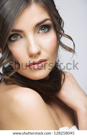 Young woman with long hair. Beauty style studio face portrait isolated