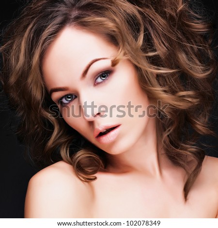 young woman with long healthy hair, beautiful eyes, sensual lips