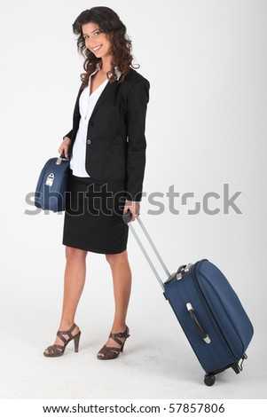 Young woman with luggages