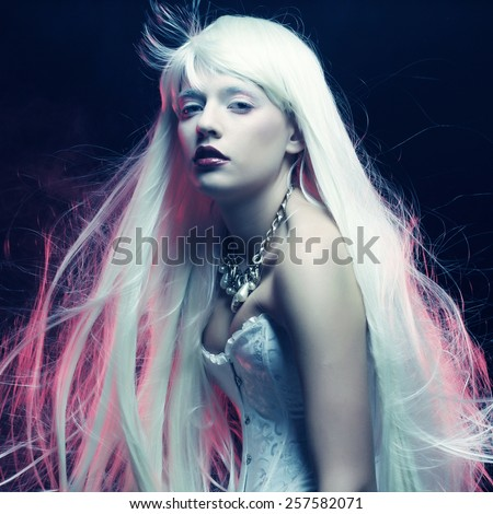 young woman with magnificent white  hair