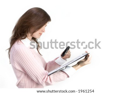 Young Woman with Magnifier Over Documents