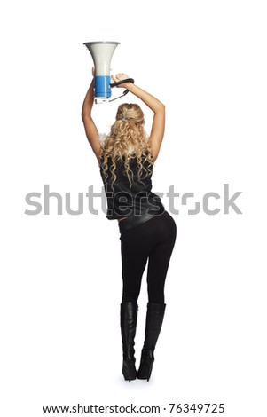 Young  woman with megaphone - stock photo