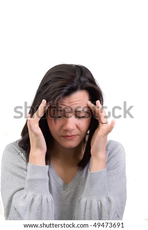 Young woman with migraine headache. - stock photo