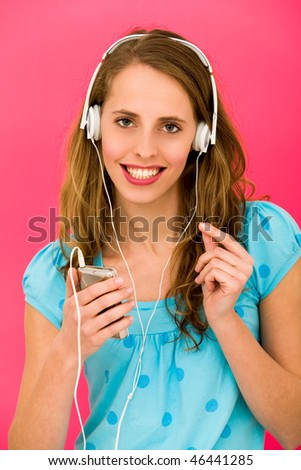 Young woman with MP3 player