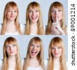 Young woman with multiple face expressions - stock photo