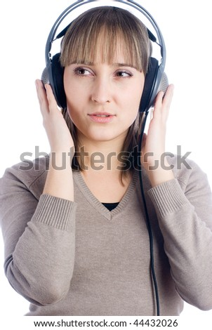 Young woman with music headphones on isolated background