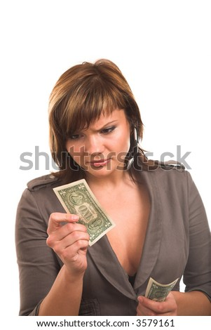 young woman with one dollar bank note