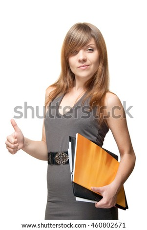 young woman with orange folder shows a thumbs up gesture