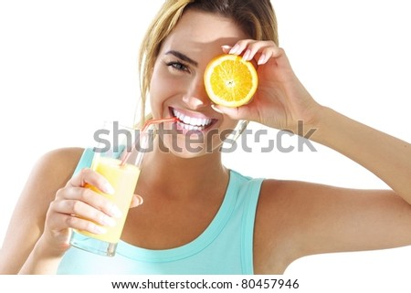 young woman with orange juice - stock photo