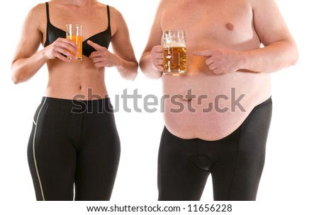 Young woman with orangejuice beneath a very fat man with beer - stock photo