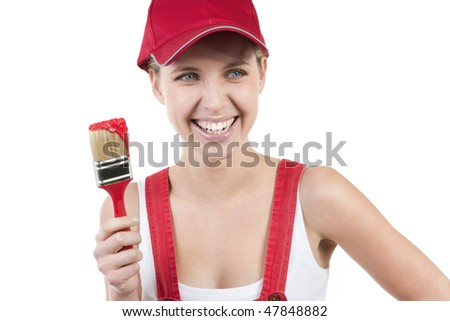 Young woman with paintbrush