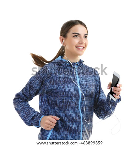 Young woman with phone running, isolated on white