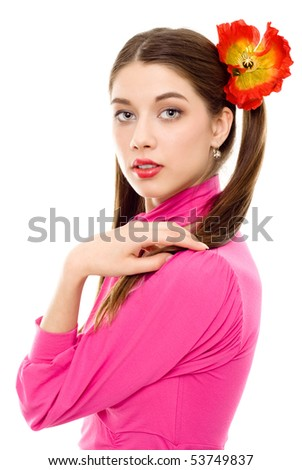 young woman with pigtails in pink dress isolated - stock photo