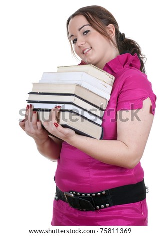 young woman with pile of books - stock photo