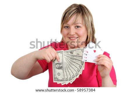 Young woman with playing cards and dollars - isolated on white background