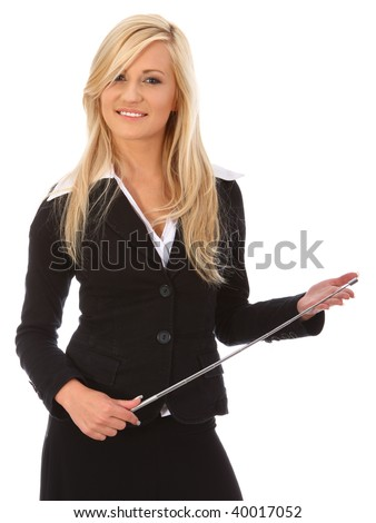Young woman with pointer giving a presentation - stock photo