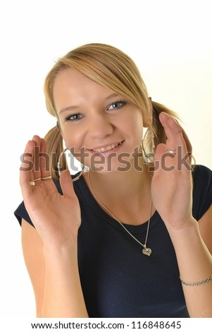 young woman with ponytail - stock photo