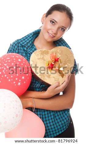 young woman with present and balloons for happy birthday isolated on white background - stock photo