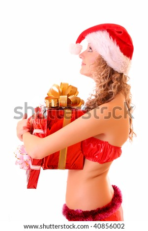 Young woman with presents isolated on white