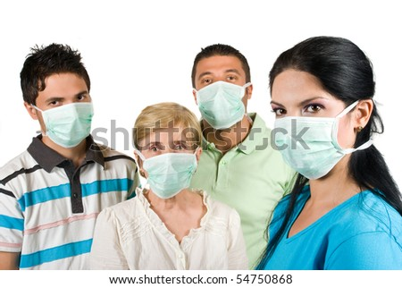 Young woman with protective mask standing in profile and in front of image looking at you and other three people with mask near her concept of protection from sickness - stock photo