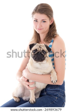 young woman with pug dog isolated on white background - stock photo