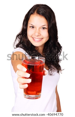Young woman with red cranberry juice isolated on white background