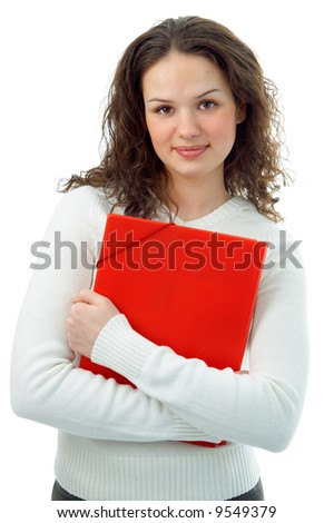 young woman with red folder on white background