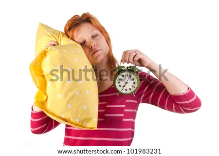 Young woman with red hair is sleeping - stock photo