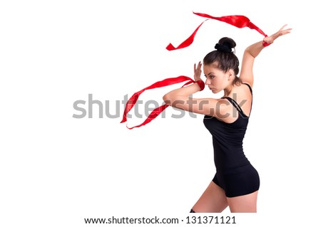 Young woman with red ribbon on white backgroung