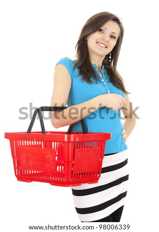 young woman with red shopping basket, white background