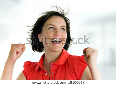young woman with red t-shirt - stock photo