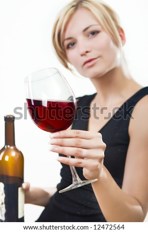 Young woman with red wine - white background - stock photo